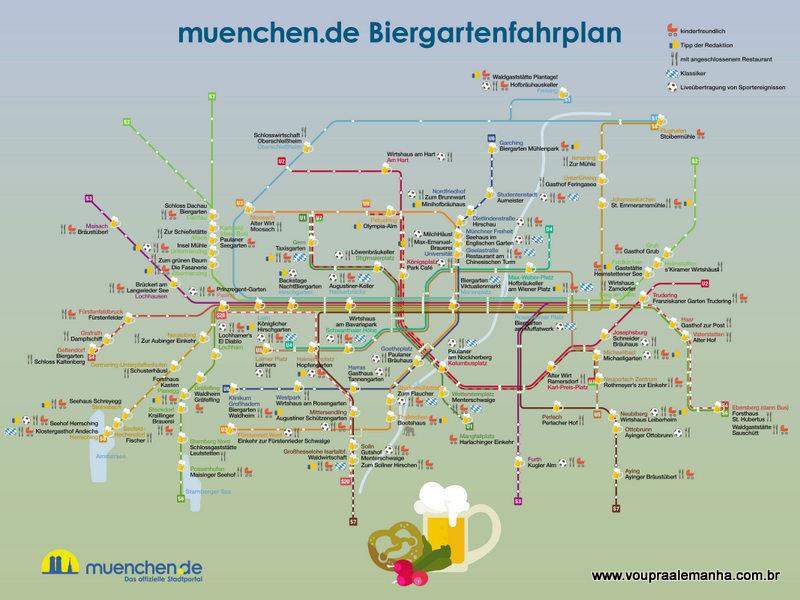 Biergarten em Munique: o mapa da mina