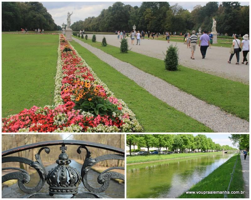 Os imensos jardins, o parque e os canais do Palácio Nymphenburg